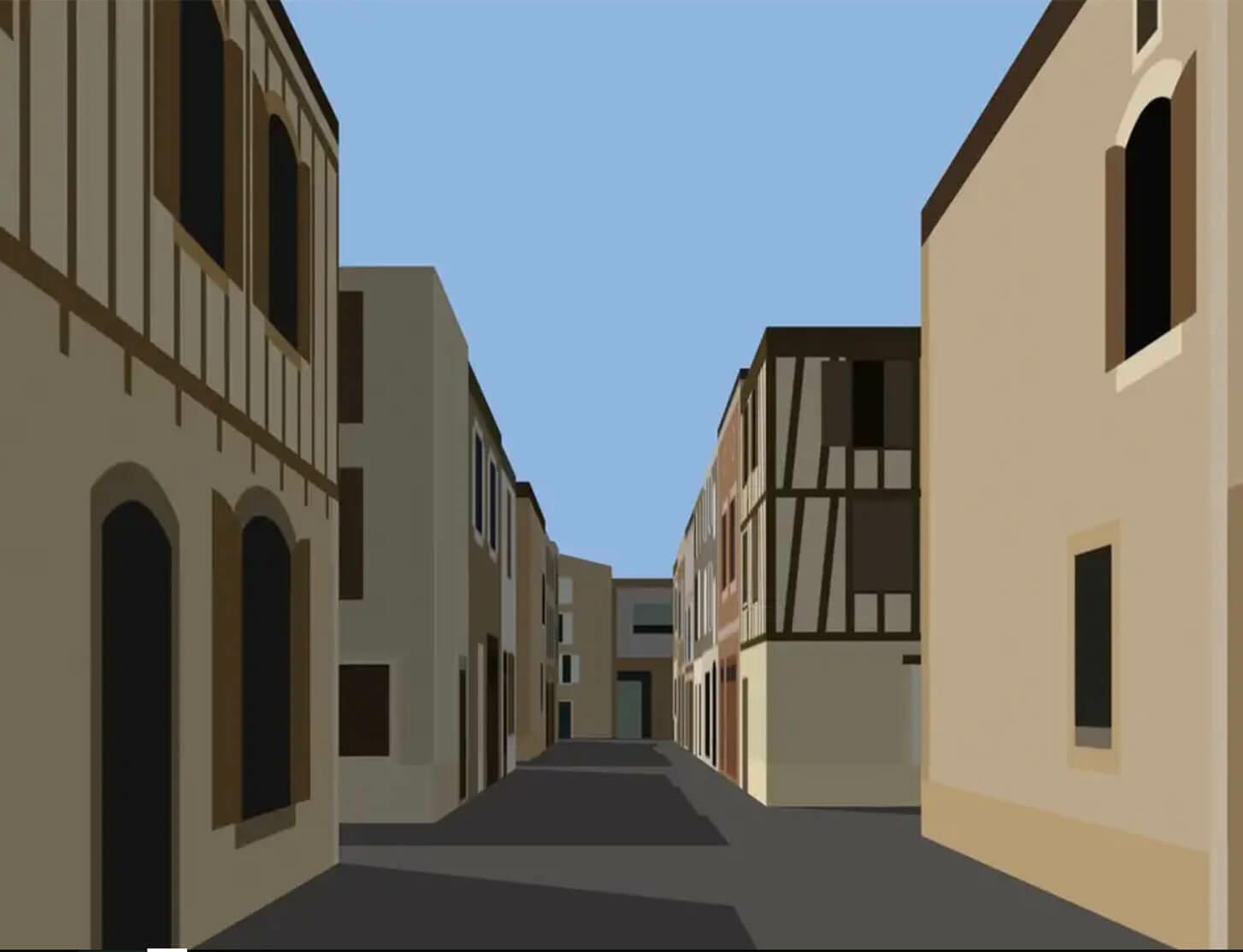Julian Opie creates new digital artwork 'Village.'