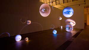 Thumbnail installation view of tony oursler number seven plus or minus two at gallery faurschou beijing 01